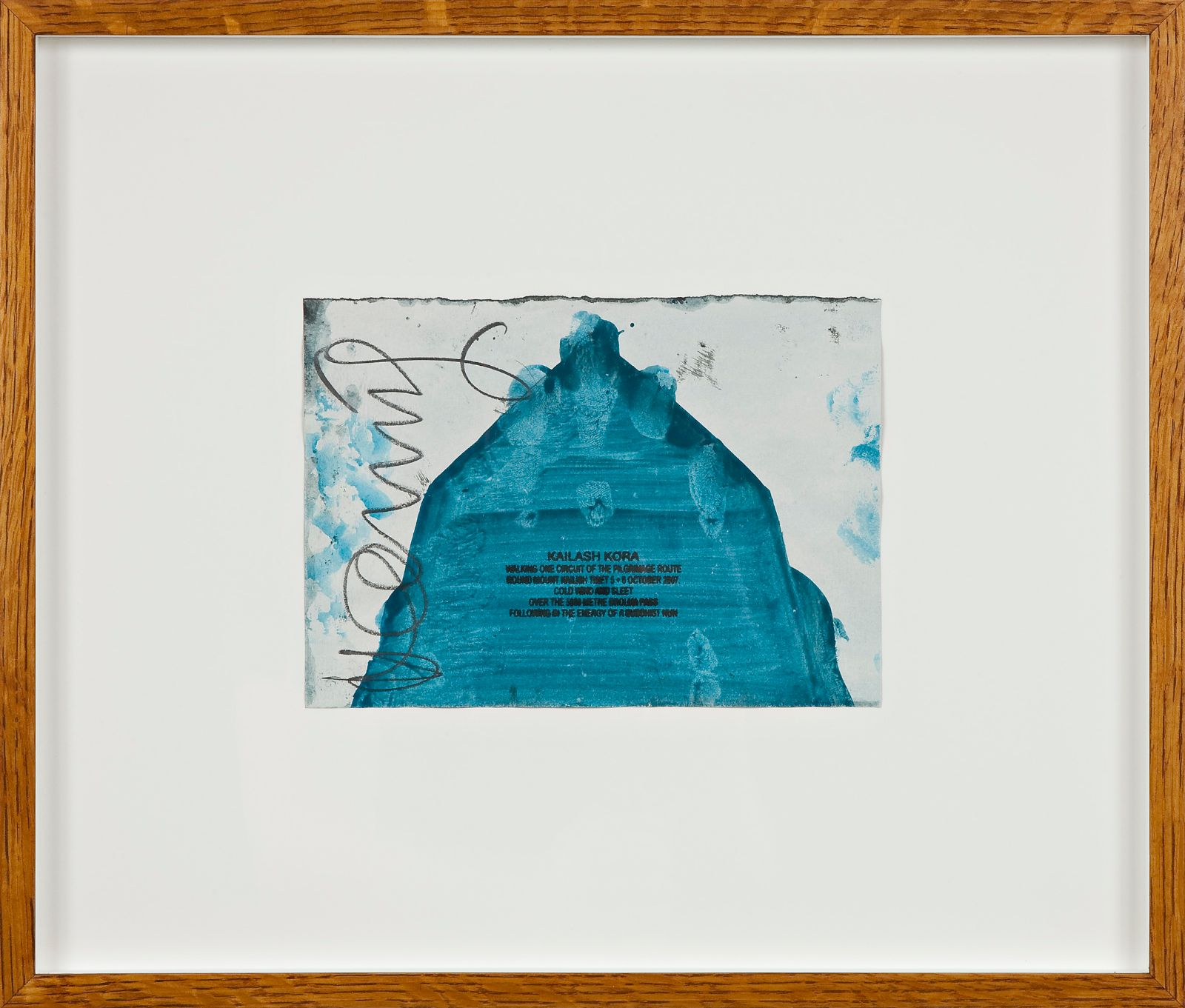 Kailash Kora, 2007, ink walk text on acrylic in artist frame, 14,5 x 20,7 cm
