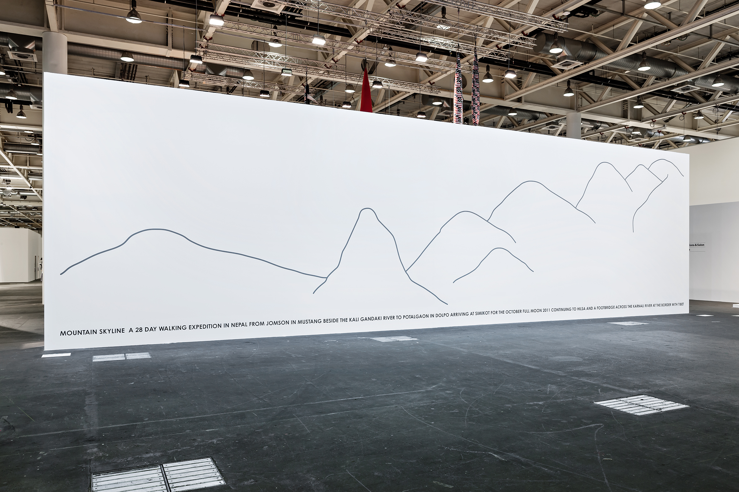 Installation view Art Basel, Art Unlimited, 2014. Mountain Skyline Nepal, 2011, wall painting, ca 500 x 1500 cm