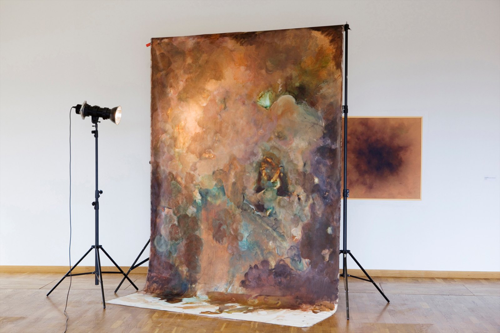 """Back Drop, 2013, acrylic on canvas, studio lamp, light stand, background stand, 250 x 320 x 200 cm.  The negative, 2013, pigment print, 96 x 98 cm, ed. 5. Installation view """"Outside the Sun is Shining and the Fat Lady Dances"""", Examination show, Konradsberg, Stockholm, 2013"""