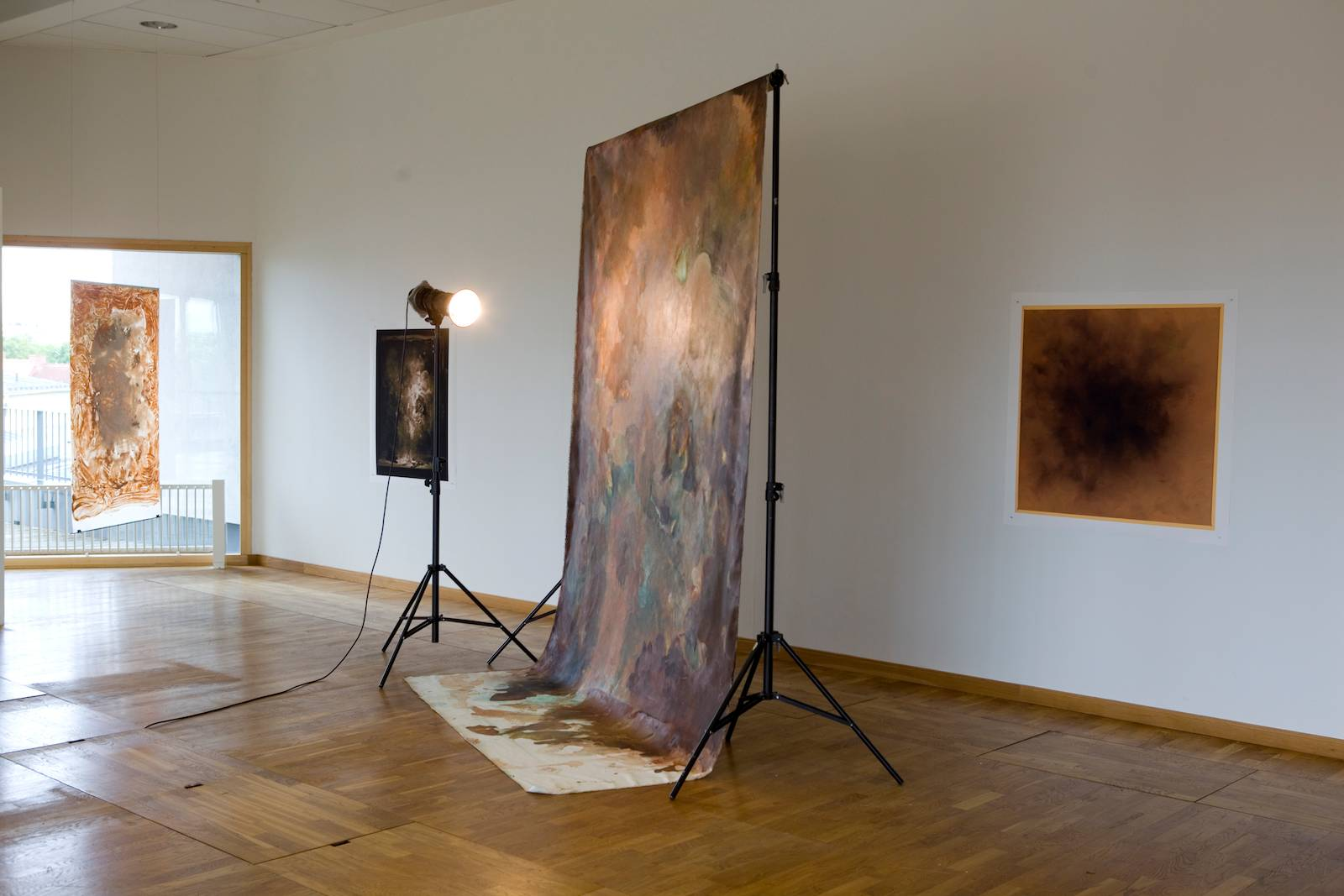 """Installation view """"Outside the Sun is Shining and the Fat Lady Dances"""", Examination show, Konradsberg, Stockholm, 2013"""