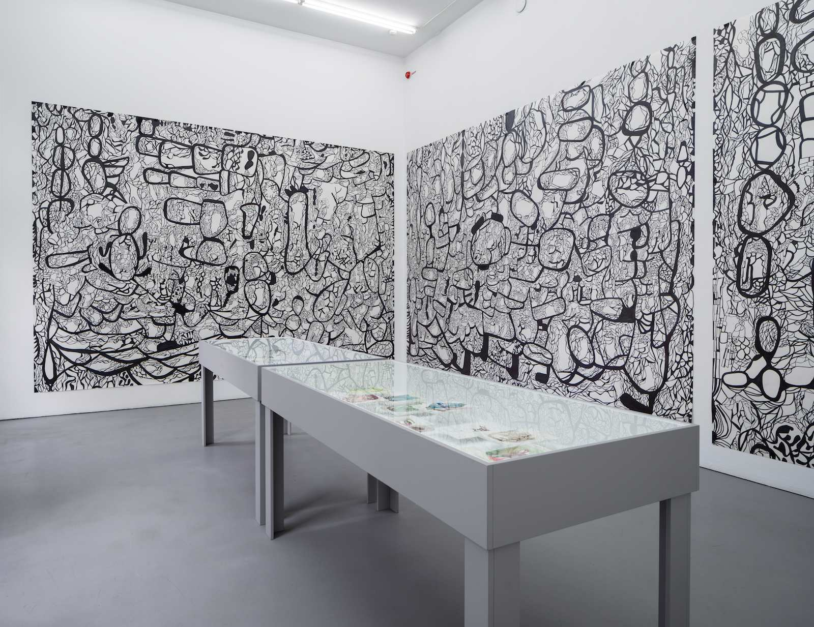 Installation view, Galleri Riis, Stockholm, 2015. Slik Livet Er / As Life Is, 2014/2015, ink on paper, 3 x 340 x 440 cm. Original drawing (three of four parts) for the commissioned work for Edvard Munch VGS, Oslo