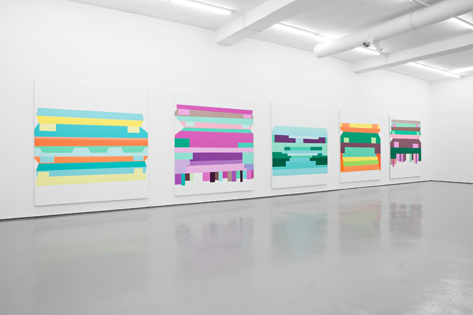 Installation view, Olav Christopher Jenssen, Panorama Second Generation / The Letharia Paintings, Galleri Riis, Oslo 2013
