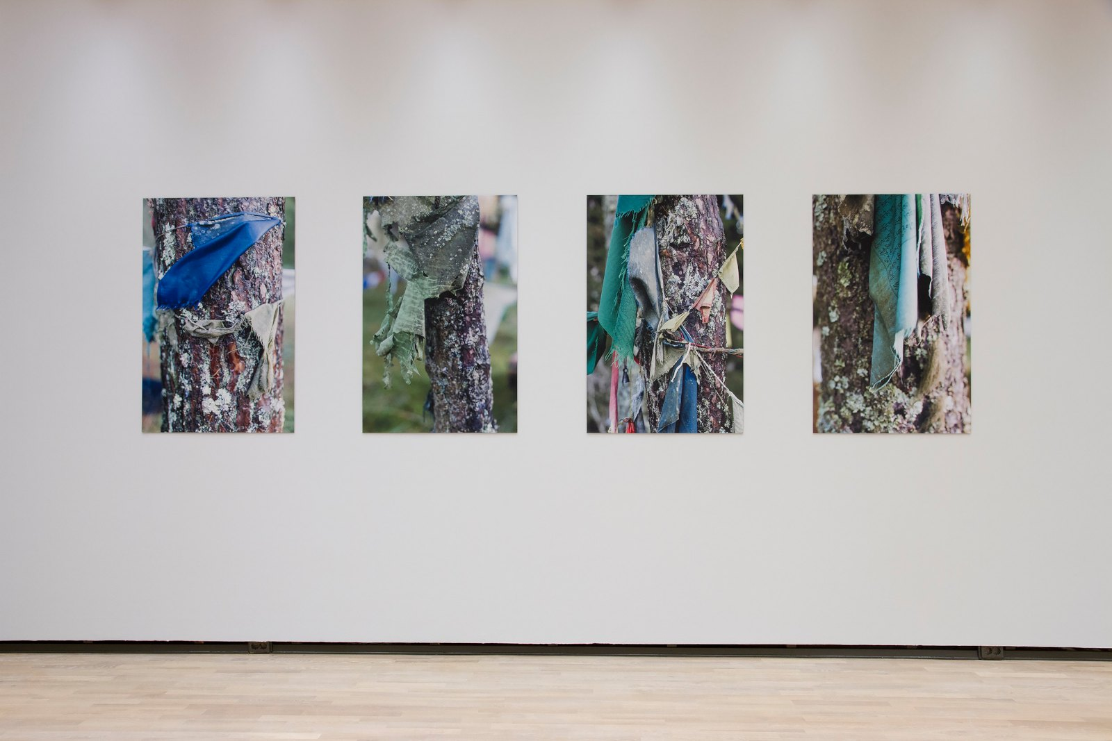 Prayers (1-4), 2014, photographs printed and mounted on textile, each 77 x 118 cm, ed. 4. Installation view Marte Johnslien, Forms of Protest, Henie Onstad Kunstsenter, 2014-2015