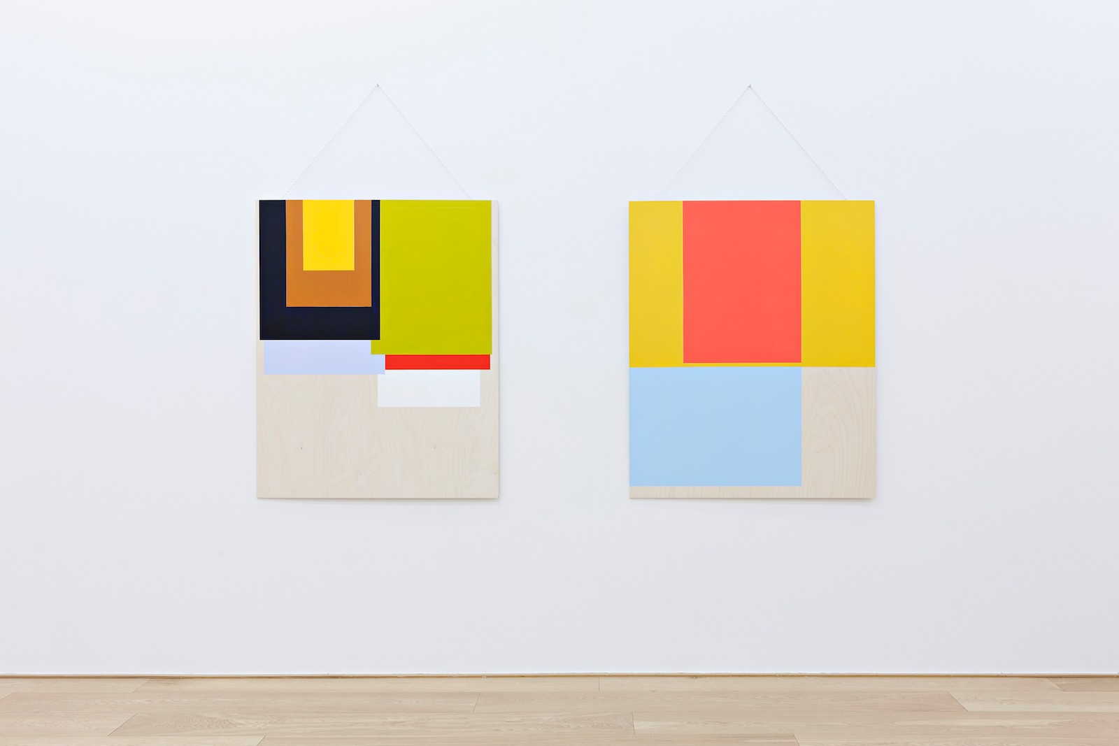 Collected colors #1 and #2, 2015, acrylic and wax on birch plywood, nylon thread, each 125 x 100 x 0,9 cm