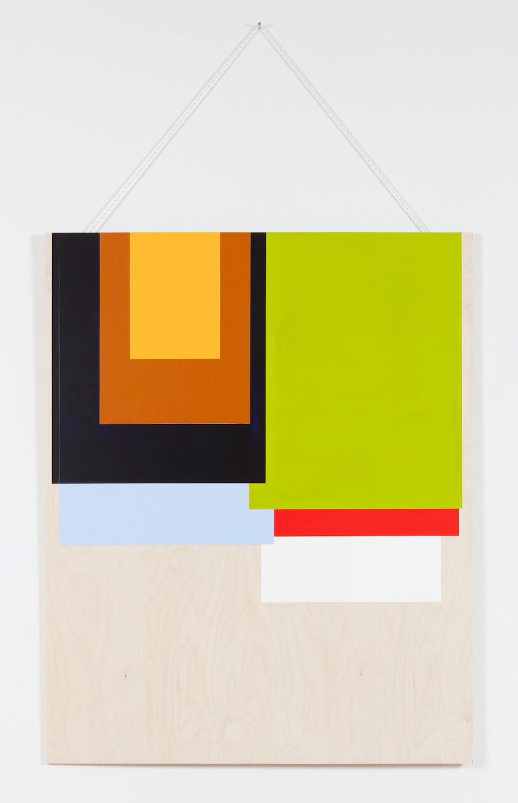 Collected colors #1, 2015, acrylic and wax on birch plywood, nylon thread, 125 x 100 x 0,9 cm
