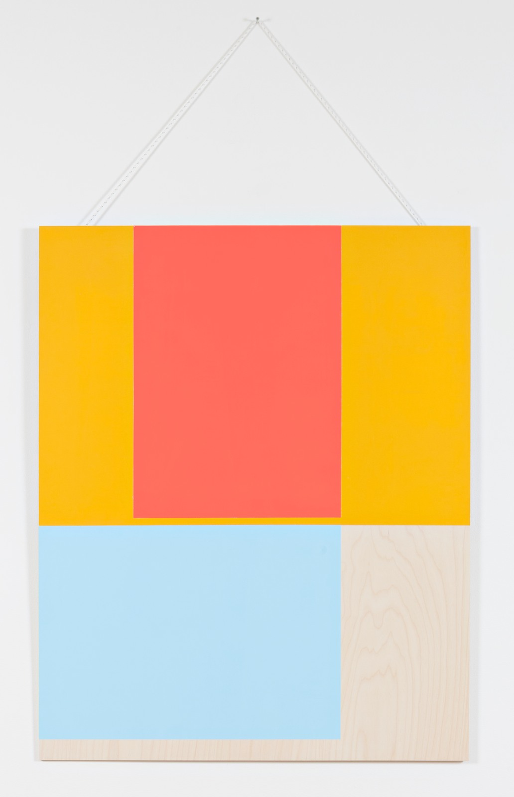 Collected colors #2, 2015, acrylic and wax on birch plywood, nylon thread, 125 x 100 x 0,9 cm