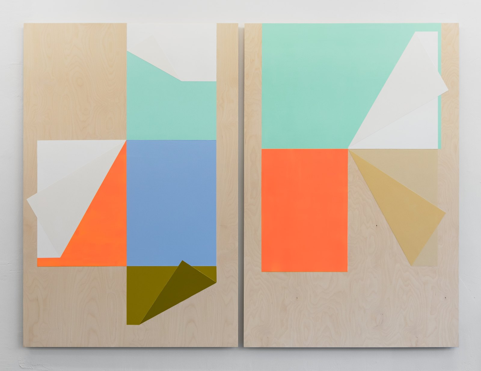Untitled (Diptych), 2016, acrylic and gesso on plywood, 2 panels 180 x 120 cm (overall 180 x 244 cm)