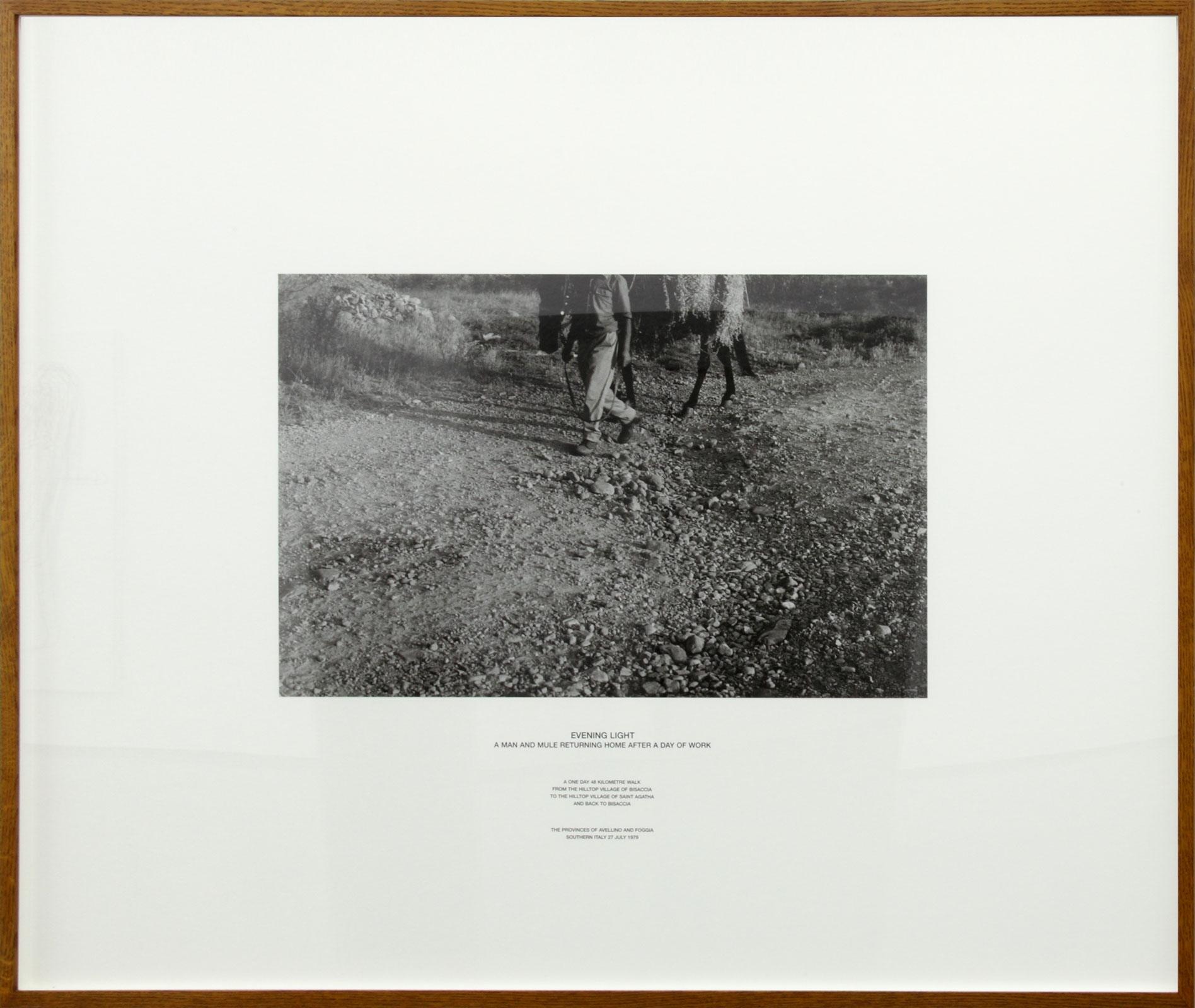 Hamish Fulton, Evening Light Italy, 1979, Framed photo-text work, 116 x 138 cm