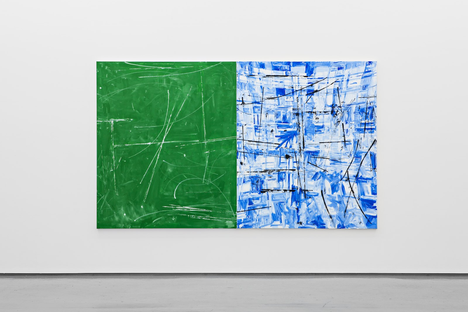 Untitled, 2012, acrylic on canvas, 180 x 300 cm (2 panels)