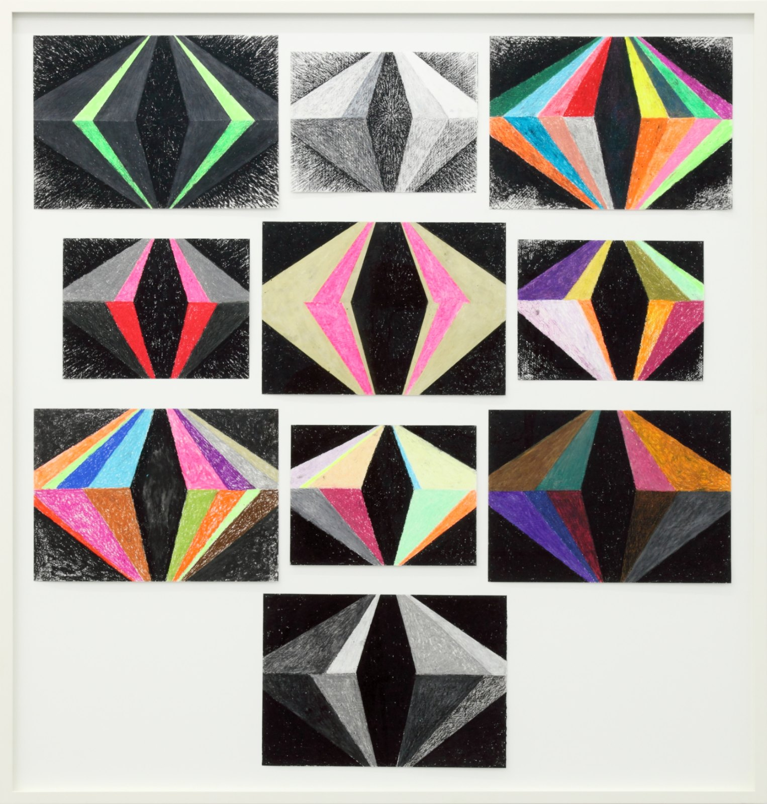 Lars Monrad Vaage, They told the Future Backwards, 2004, Oil pastel on paper, framed, 134 x 126 cm