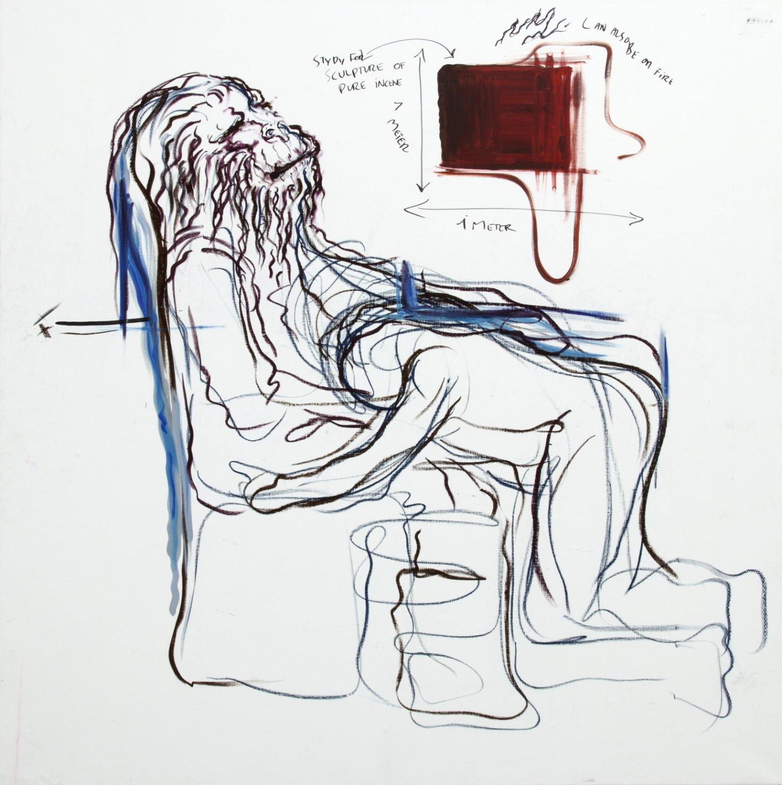 Bjarne Melgaard, Untitled, 2001, Mixed media on canvas, 200 x 200 cm