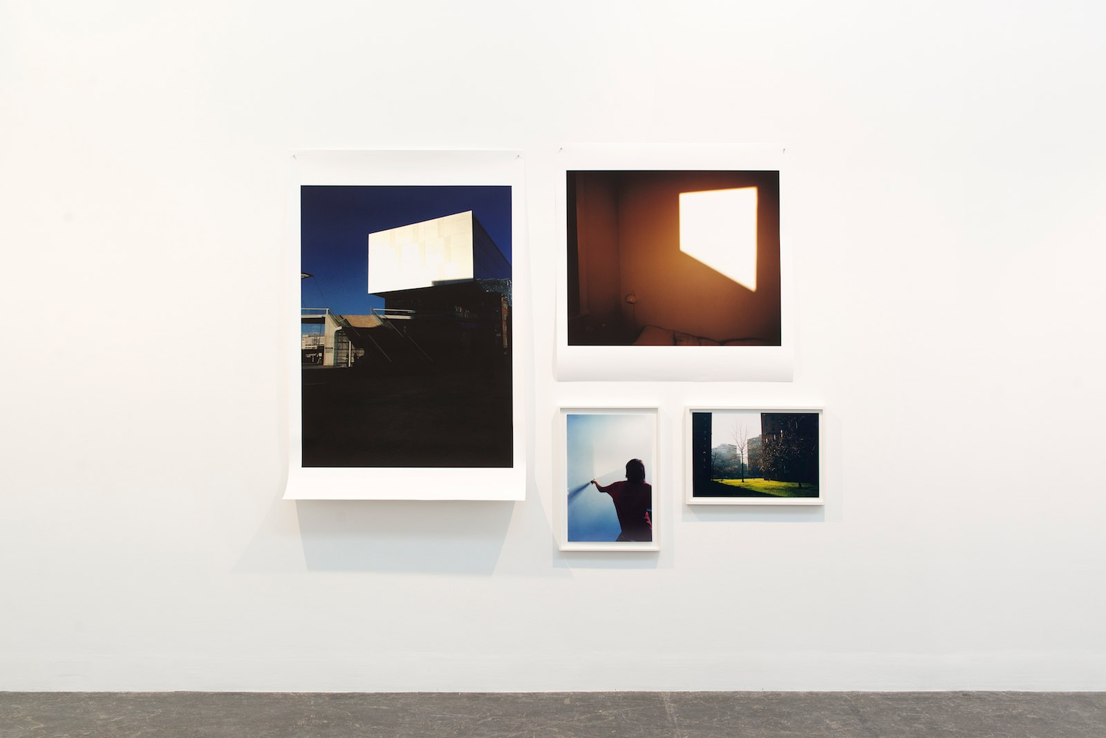 The Invisible Now, 2014 / Trapezoid II , 2010 / Blue Hallway II, 2014 / Green Lawn, 1994.Installation view AURDAL / MUGAAS, Kunstnernes Hus, Oslo, 2016. Photo: Christina Leithe Hansen © Kunstnernes Hus.