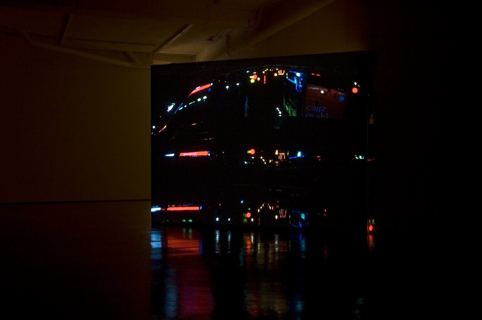 Skin flick, 2008, 16 mm color film transferred to HD video, 22`loop, asynchr. Sound, dim variable, Ed. 3. Installation view Eline Mugaas, Skin flick, Galleri Riis, Oslo, 2008