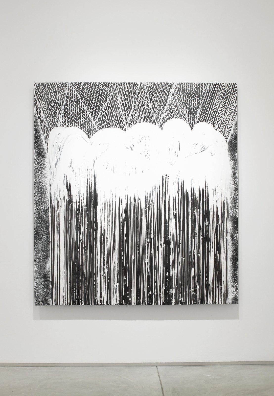 Around Your Altogether (Large Wave), 2016, oil and ground pumice stone on aluminum honeycomb panel, 165 x 150 cm. Installation view Håvard Homstvedt, A glove in a dusty dream, Inman Gallery, Houston 2016.