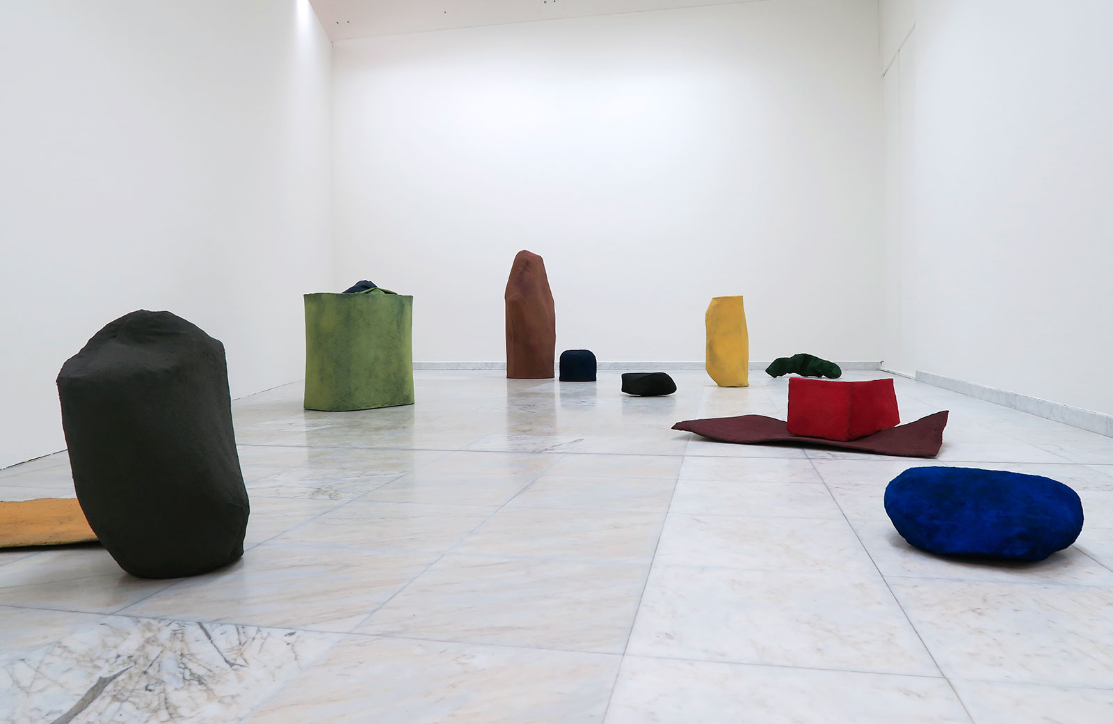 The Paris Abstractions, 2015. Installation consisting of 14 pigment sculptures, dimension variable and 4 watercolours, each 28 x 32 cm. Installation view NN-A NN-A NN-A: New Norwegian Abstraction, Stavanger Art Museum, 2016