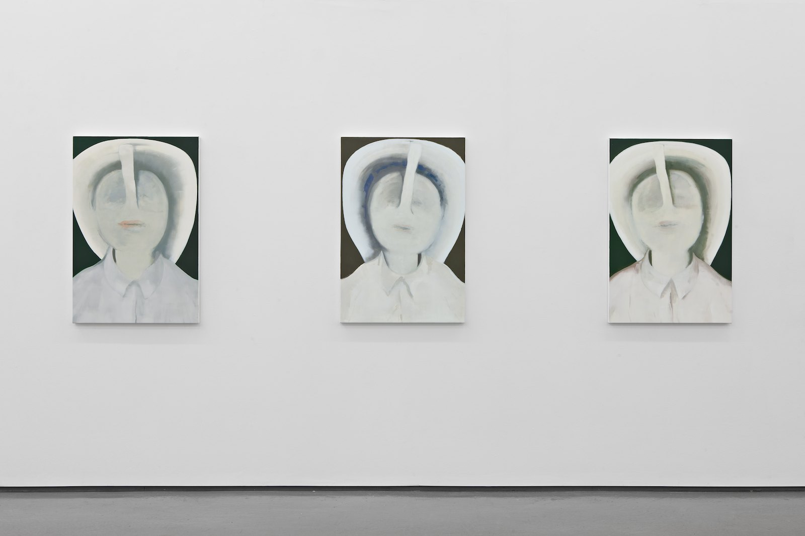 The Groan in the Fiddle, 2012, oil on canvas over panel, each 91,5 x 61 cm. Installation view, Håvard Homstvedt, Truth Pops a Reflex, Galleri Riis, Oslo, 2012