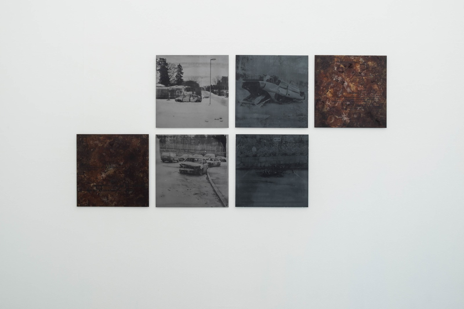 Jasmin Daryani (Born 1988 in Teheran, Iran. Lives and works in Stockholm). Where do we go from here? 2015, silkscreen on metal, 50 x 50 cmDuring 2015, Daryani documented burned-out cars in different residential areas in Stockholm. These works are part of a larger series of images.