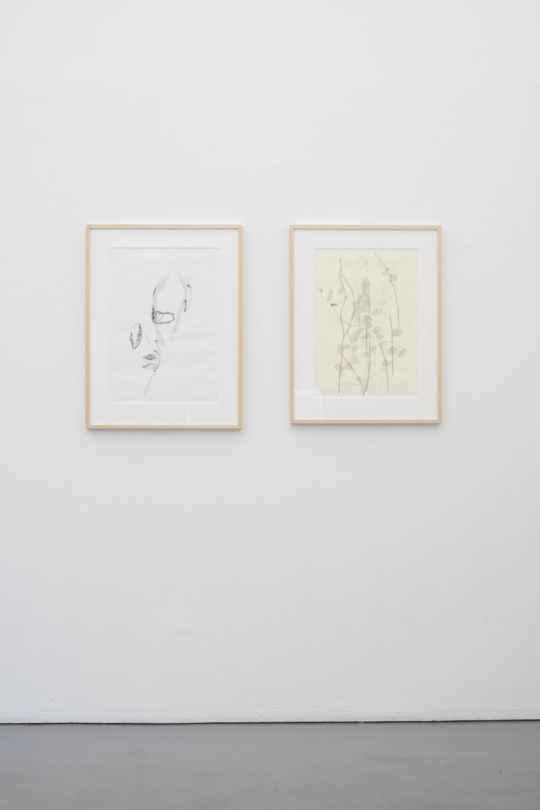Silje Figenschou Thoresen (Born 1978, lives and works in Stockholm and Kirkenes, Norway). Two drawings from the series Vandret Linje, 2016, 60 x 43 cm / 58 x 41 cmThe images consist of several layers in different degrees of transparency. The starting point for this work has been documents from a Danish archaeological expedition in the 1920s to Varanger in Sápmi.