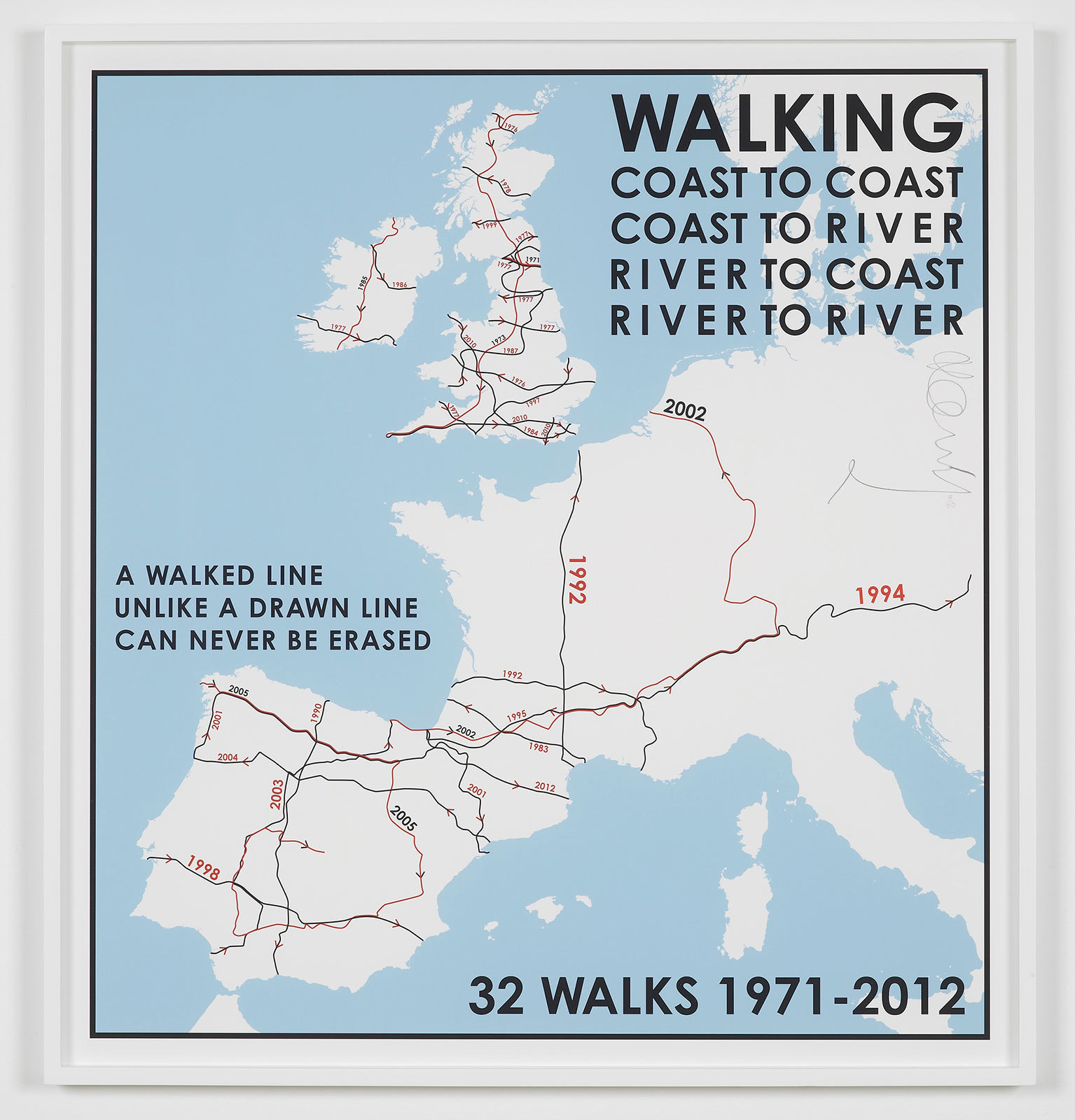 Hamish Fulton (born 1946 in London, lives and works in Canterbury), 32 walks map. Western Europe. 1971-2012, Giclée print, 74 x 69 cmFulton have walked in western Europe over a 40-year period. From Franco's Spain in the 70s to Northern Ireland the natural boundaries of valleys, coastlines and rivers are followed, rather than legal frontiers.