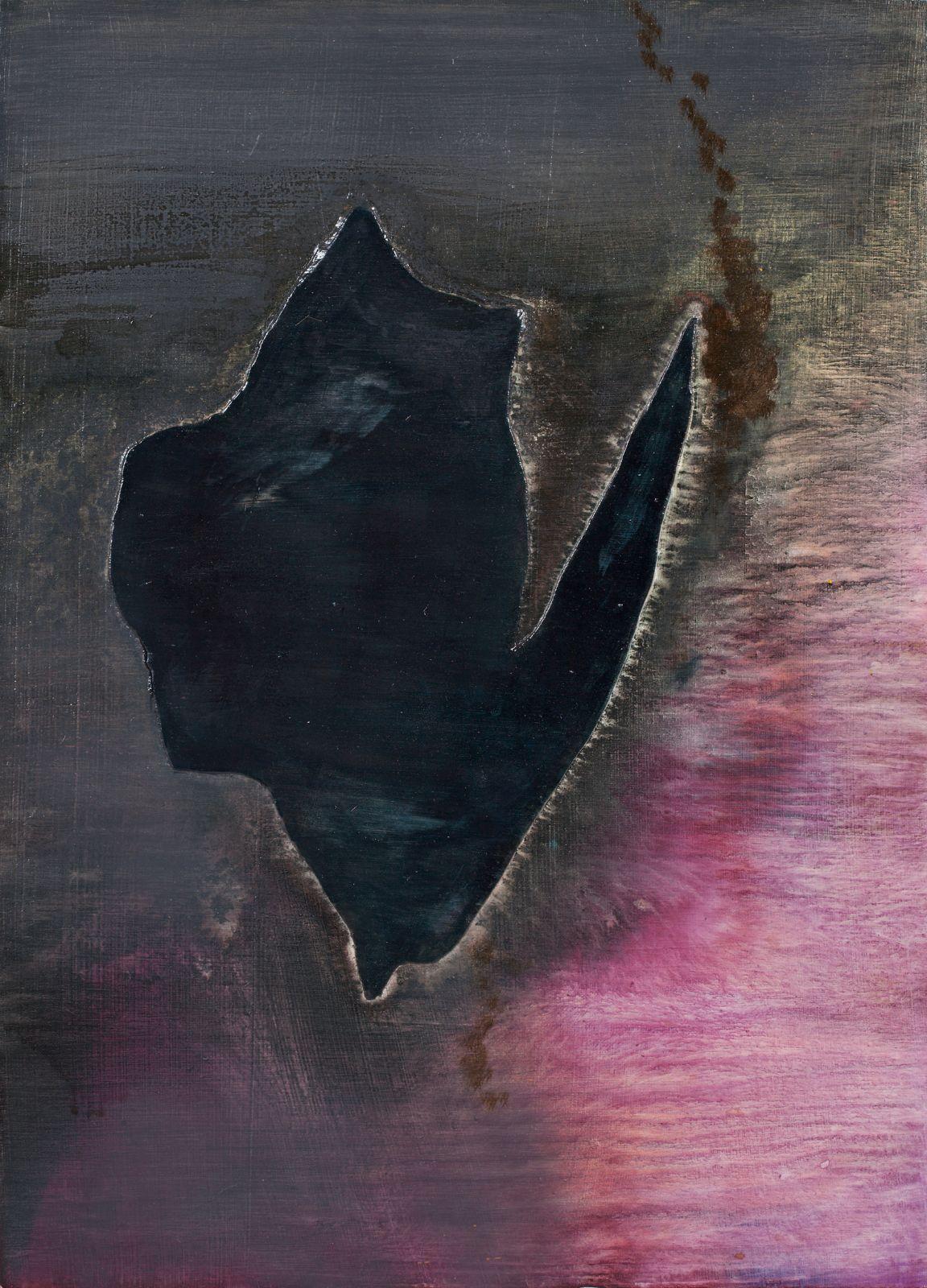 Den ubudne gjest, 2009, oil and acrylic on canvas on panel, 52.5 x 37.5 cm