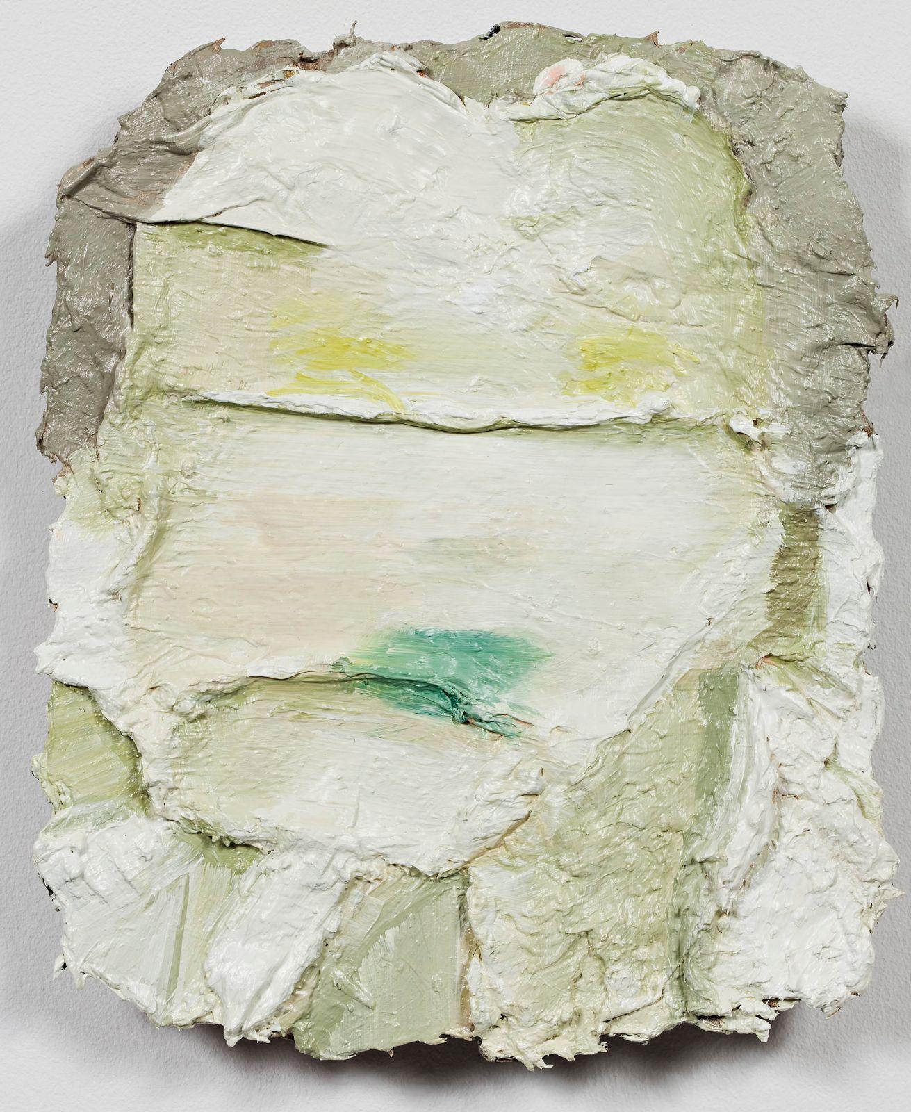 Studie til et ideelt hode (Hvitt/grønt), 2009, oil on canvas over panel, 30.5 x 25.5 cm