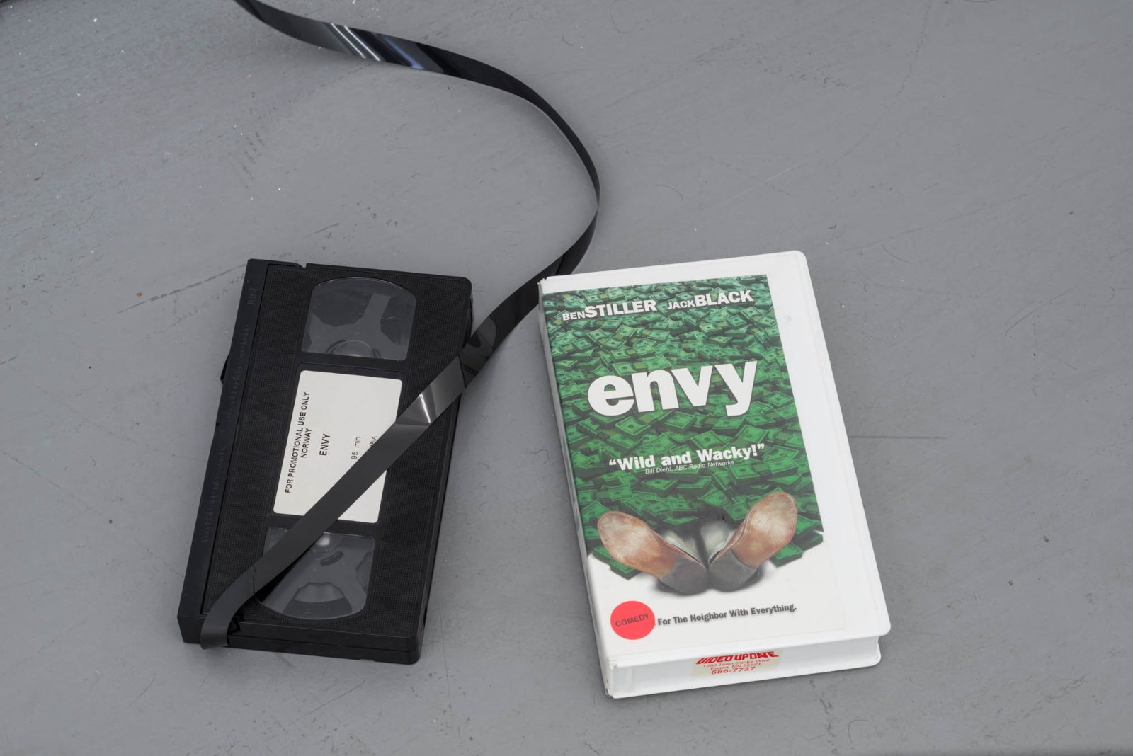 Matias Faldbakken, Envy Measurement, 2016, VHS video tape and cassette, measurements variable, (detail).