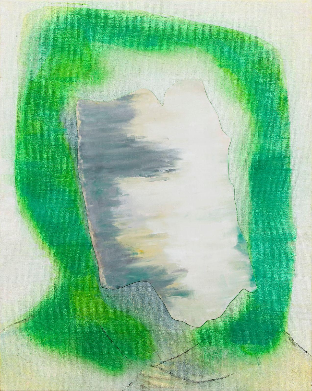 Ikon i grønt og hvitt, 2009, oil and acrylic on canvas on panel, 51 x 40.5 cm