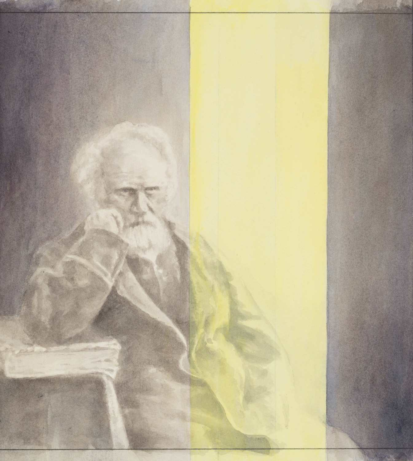Jules Janssen Contemplating Bright Yellow Light, 2016, watercolour and acrylic on paper, 32,5 x 29,2 cm