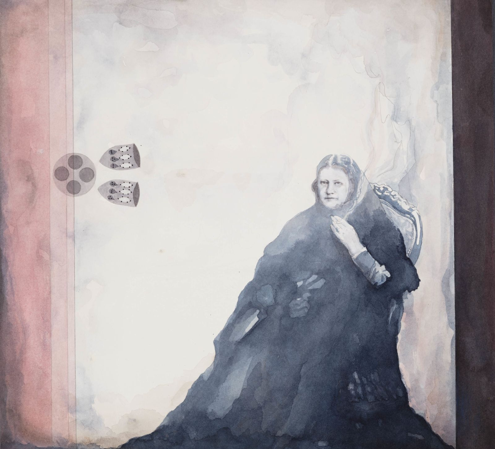Madame Blavatsky smoking and contemplating the carbon atom, 2016, watercolour and ink on paper, 29 x 31,5 cm