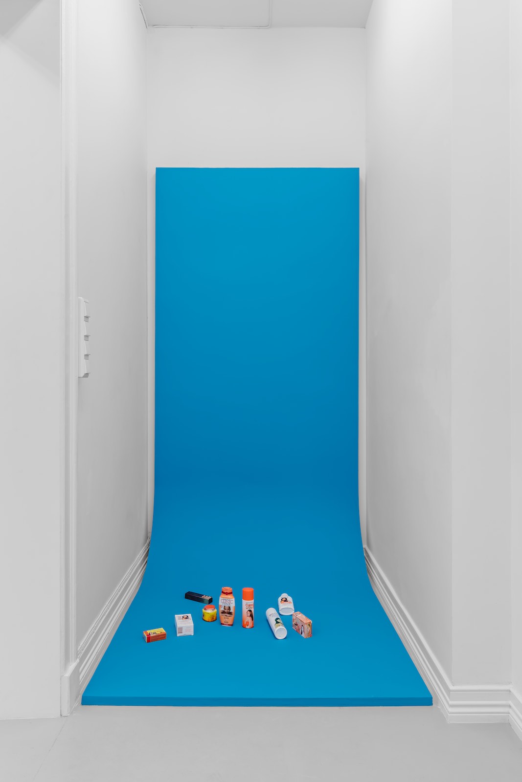 Chroma key, 2017, skin bleaching products, paint, wood, dimensions variable, Unique