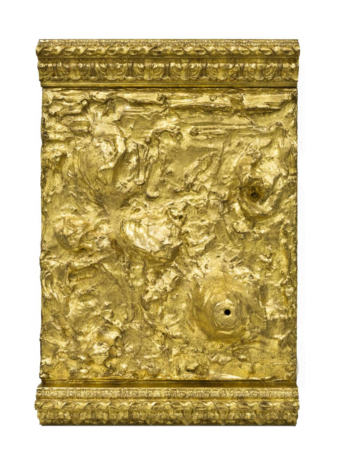 Untitled, 2017, wood, acrylic paste, gold leaf, 74 x 50 x 15 cm