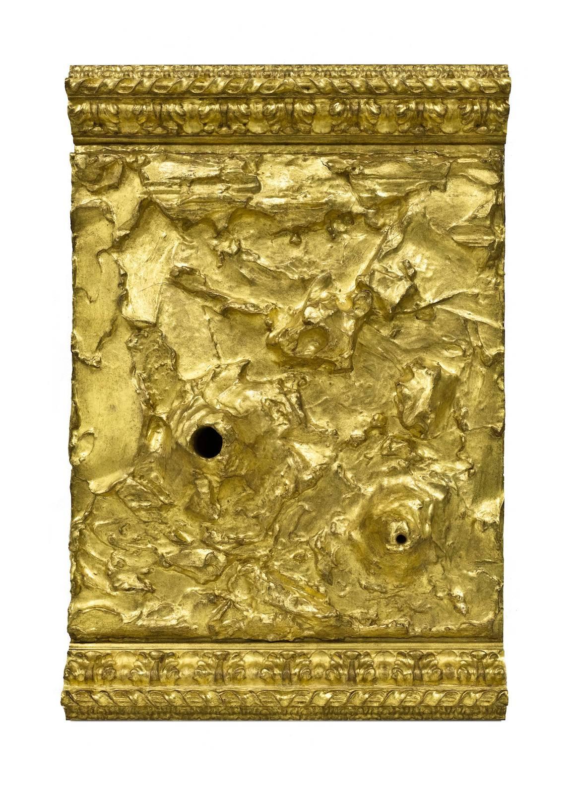 Untitled, 2017, wood, acrylic paste, gold leaf, 74 x 50 x 12 cm
