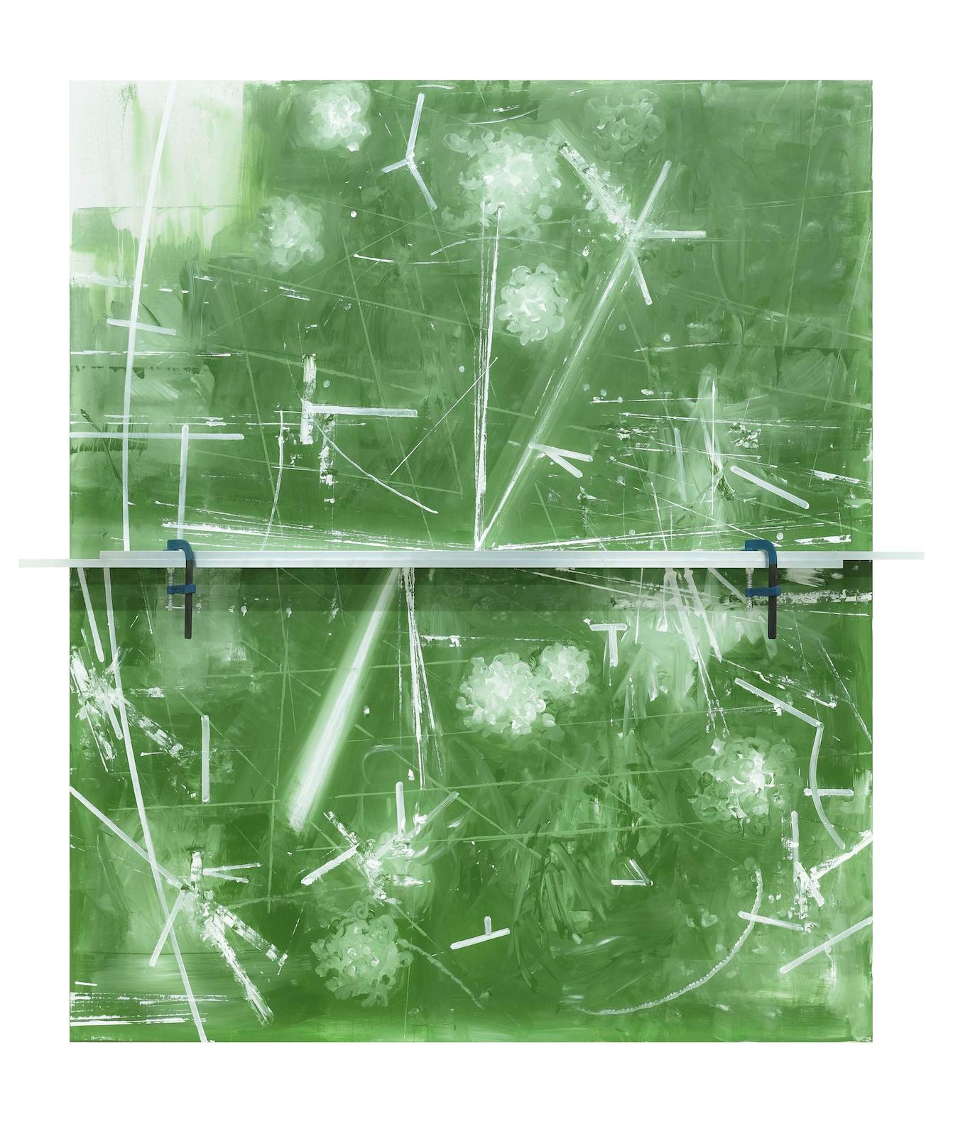 Untitled, 2016, acrylic on canvas, aluminum profile, screw clamps, 240 x 220 x 18,5 cm