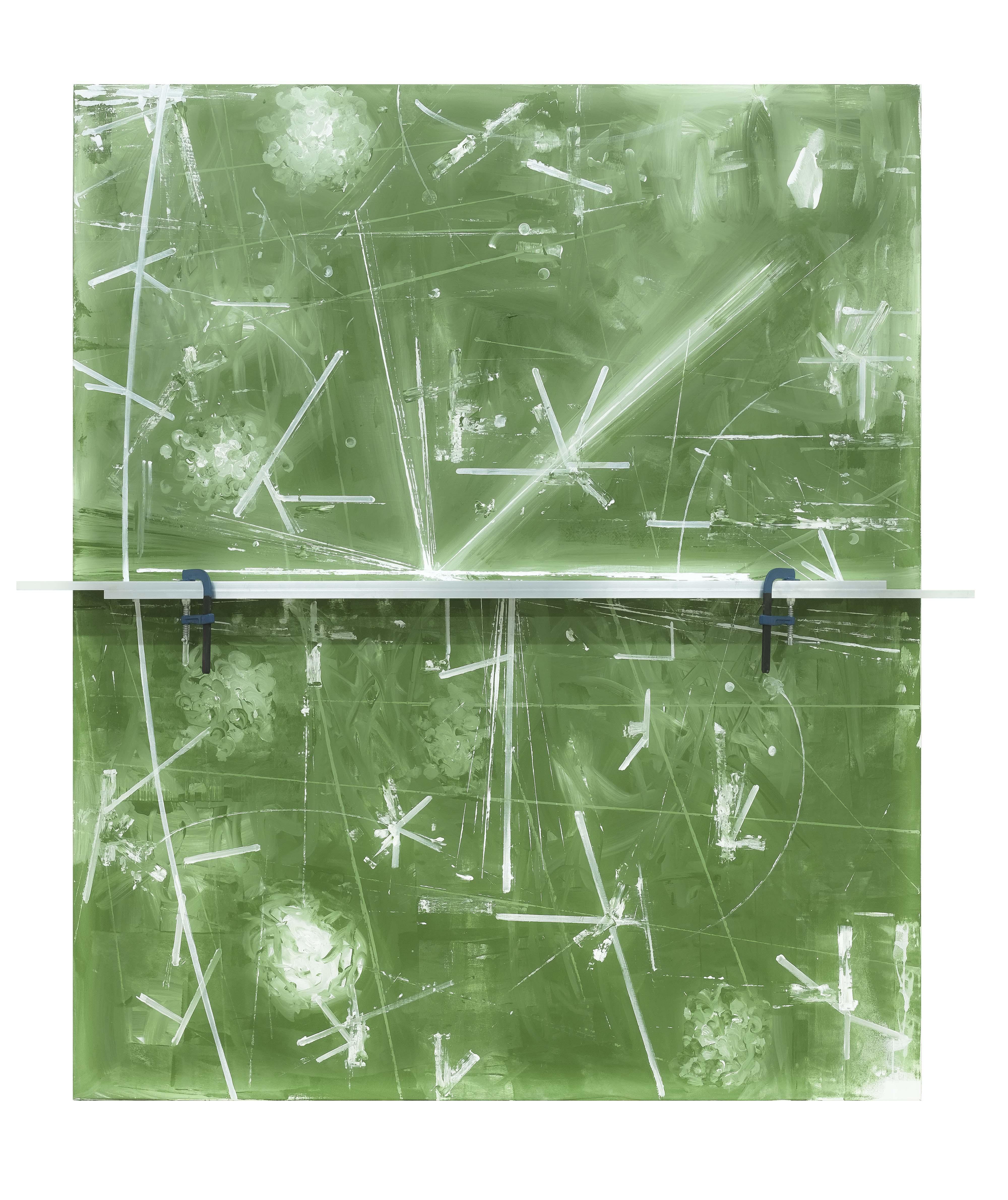 Untitled, 2016, acrylic on canvas, aluminum profile, screw clamps, 240 x 220 x 16,5 cm