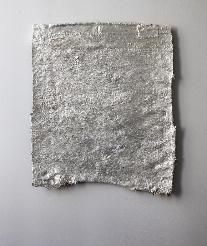Lenity, Abd al-Malik ibn Marwan, 2017, anatolian yastik, rubber, silverleaf, lacquer, 57 x 49 cm