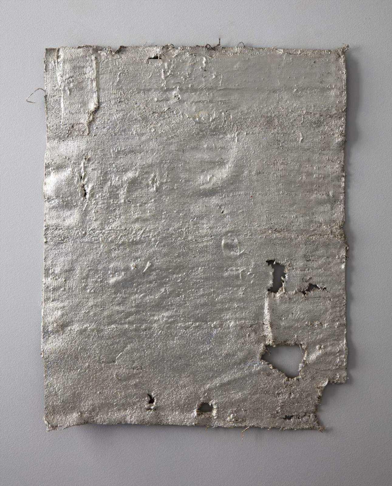 Lenity, Leo III the Isaurian, 2017, anatolian yastik, rubber, silverleaf, lacquer, 63,5 x 51,5 cm