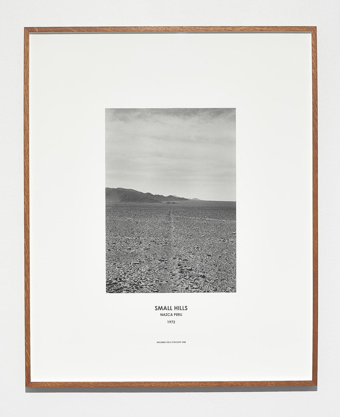 Hamish Fulton, Small Hills, Peru 1972, 1972, Silver gelatin print and digital text in artists frame, 87 x 71 x 4 cm, Unique