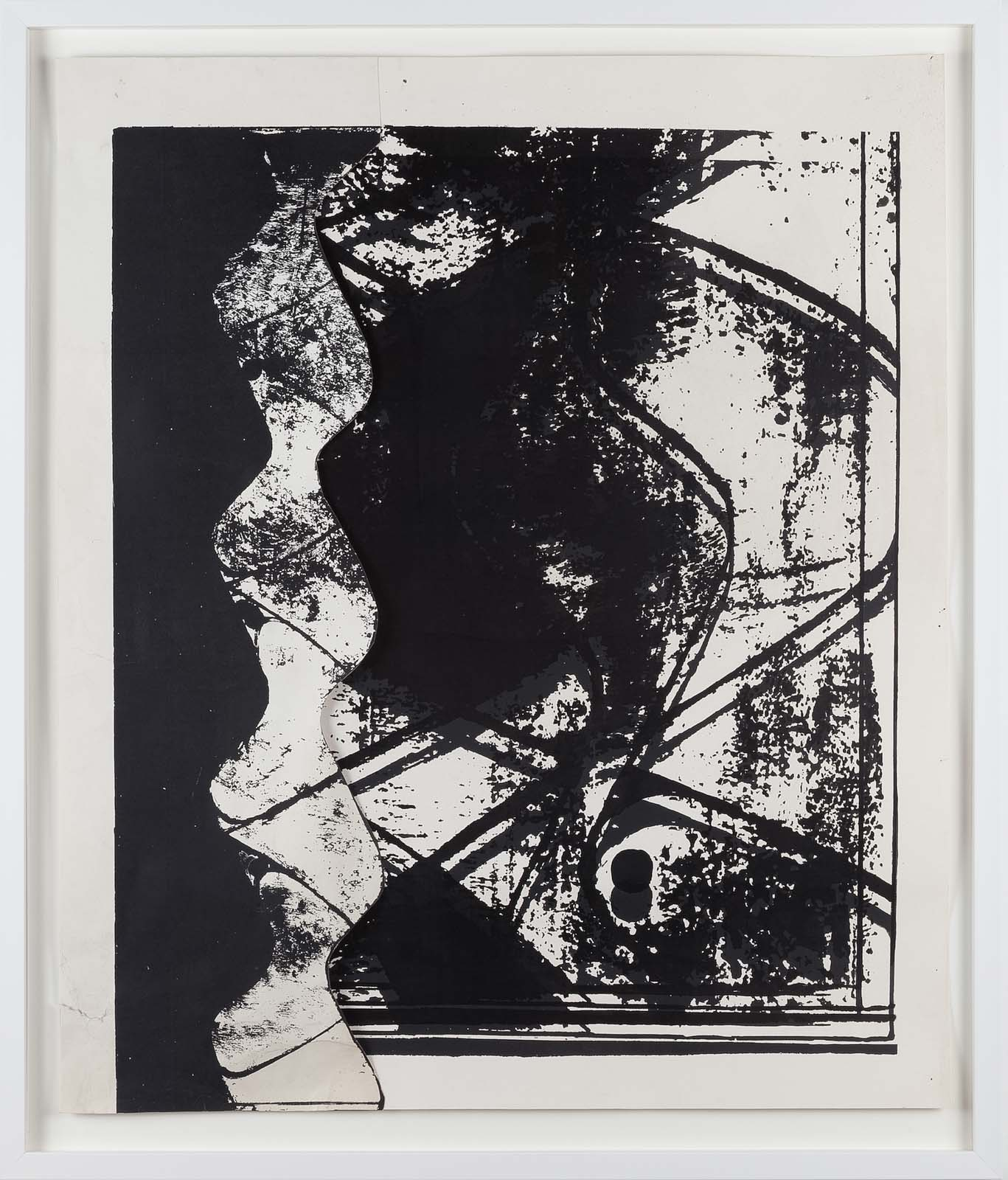 Siri Aurdal, Action – Reaction, B, early 1970s, Silkscreen and collage, 85 x 71 cm, Unique