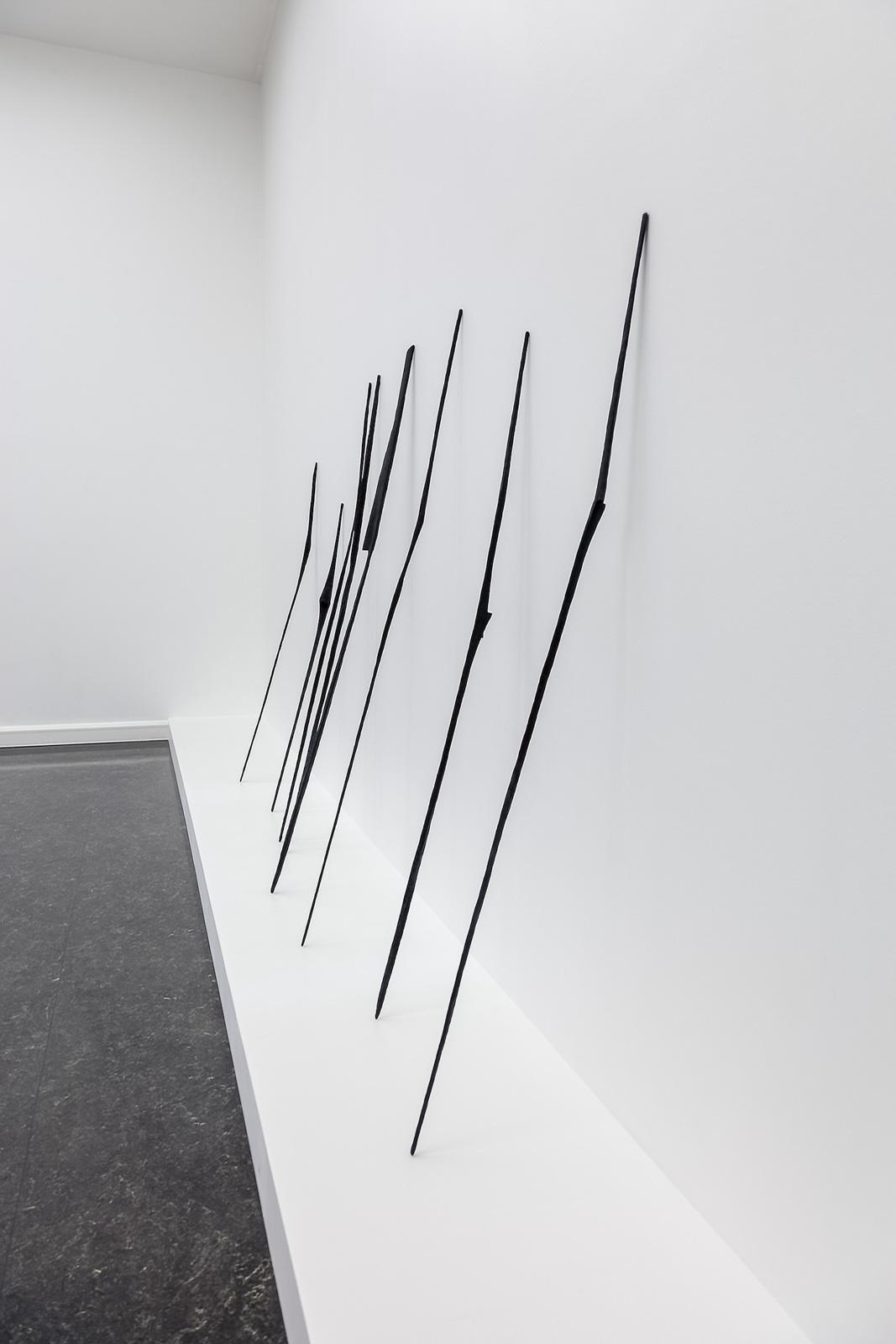 Installation view, Festspillutstillingen 2017, Bergen Kunsthall; The Bundle, 2017, 7 individual bronze sculptures, overall installed dimensions 199 x 333 cm