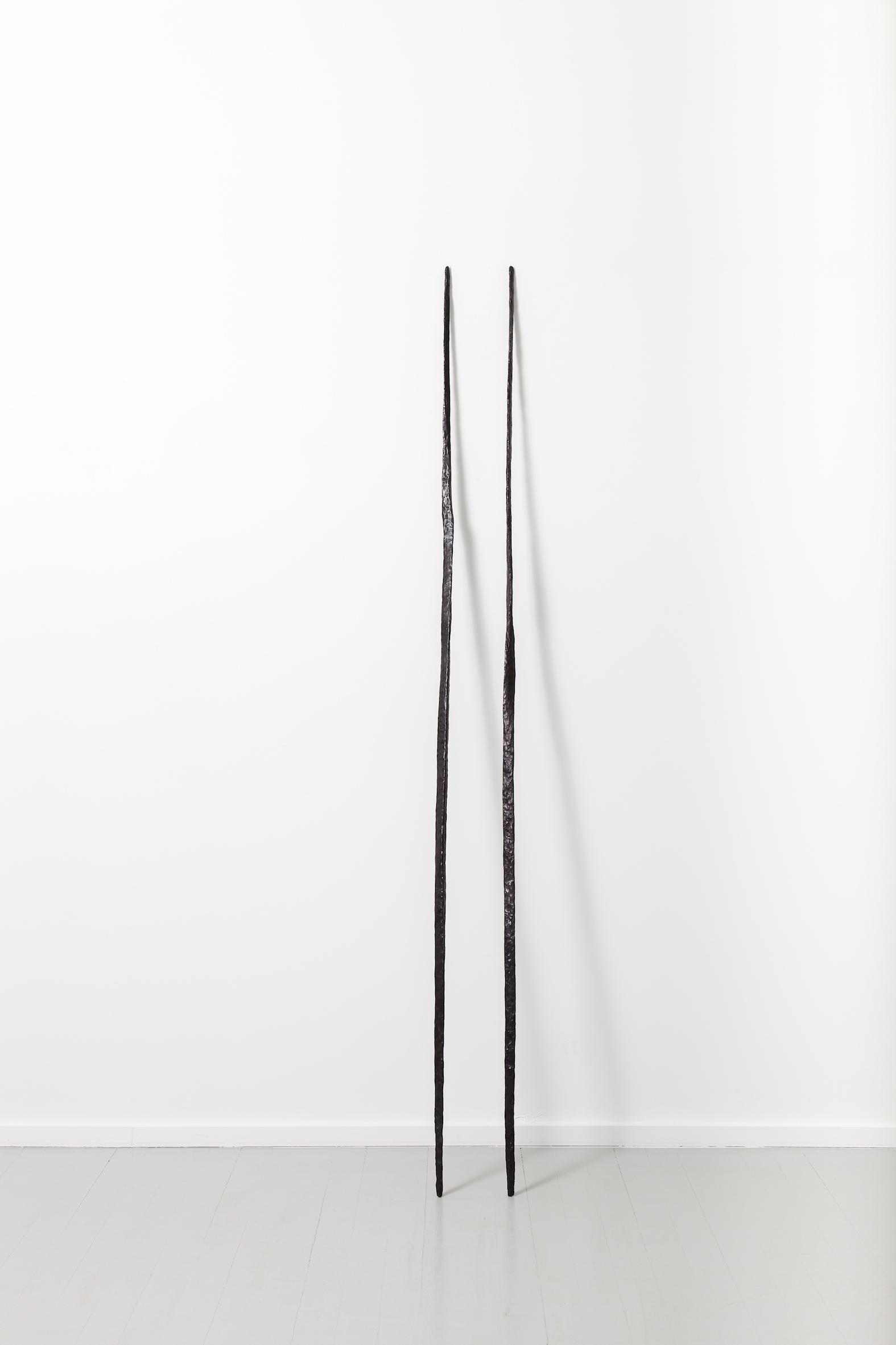 Sculpture II, 2017, patinated bronze in 2 parts, 193,5 x 17w x 32d cm