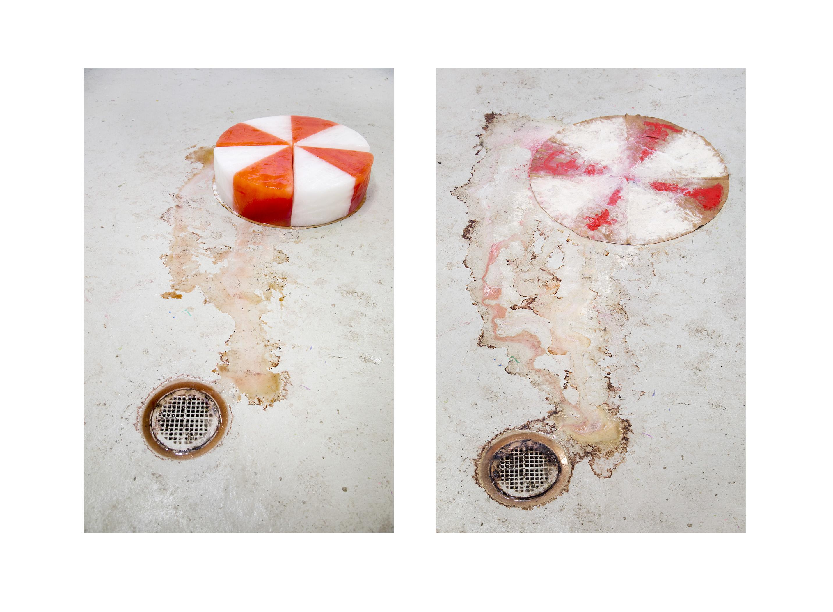 Is på kohud, 2016 (ice, hide and pigment), image from the exhibition HUR MYCKET VÄGER ETT BERG at Hangmen Projects, Stockholm