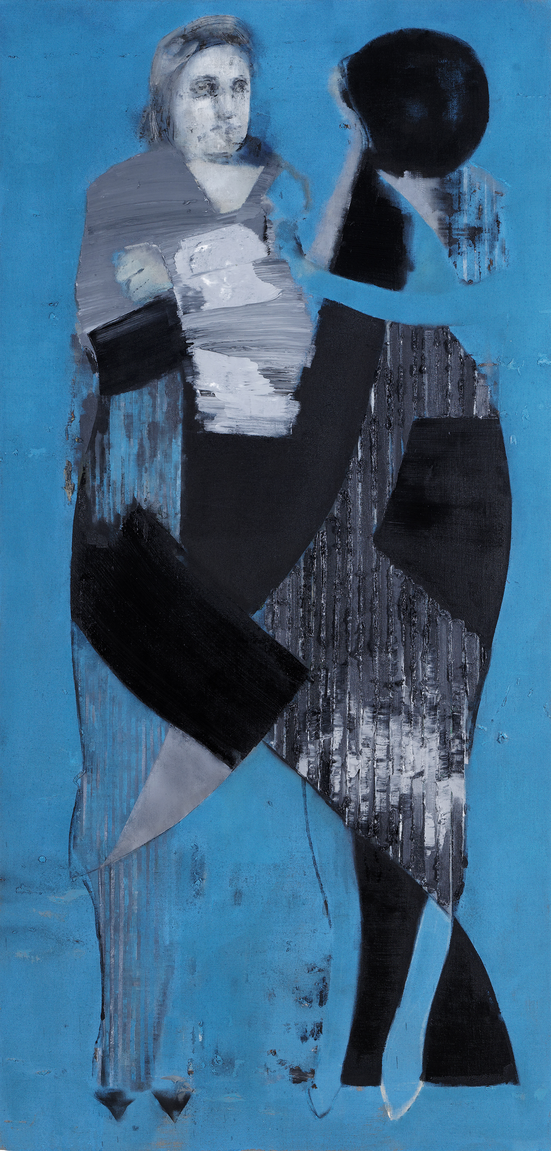 The Stickler (Blue), 2010-2011, Oil on linen over panel, 200 x 100 cm