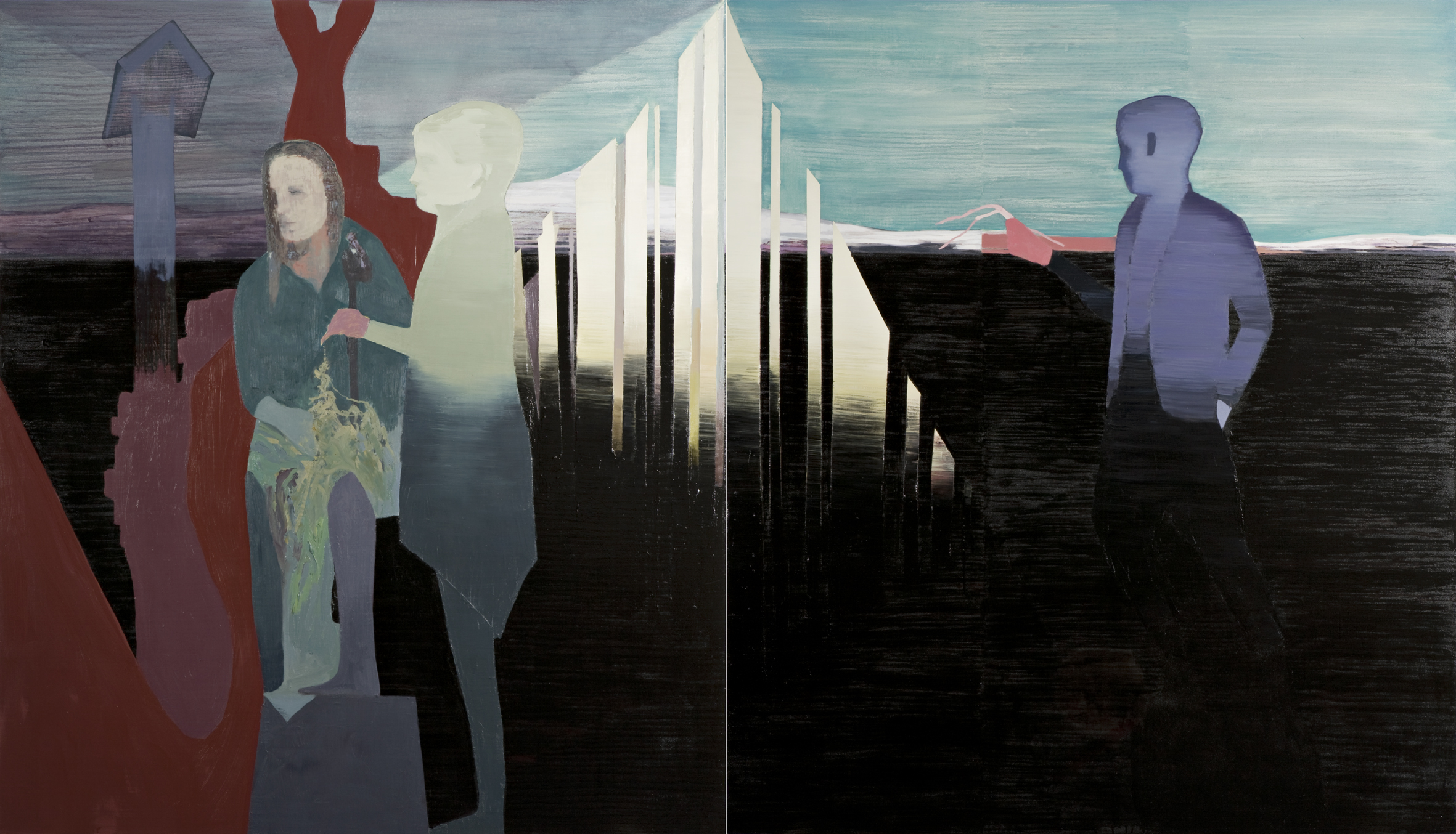 Lakelight, 2007, Oil and acrylic on canvas on panel, 213,5 x 366 cm (2 parts)