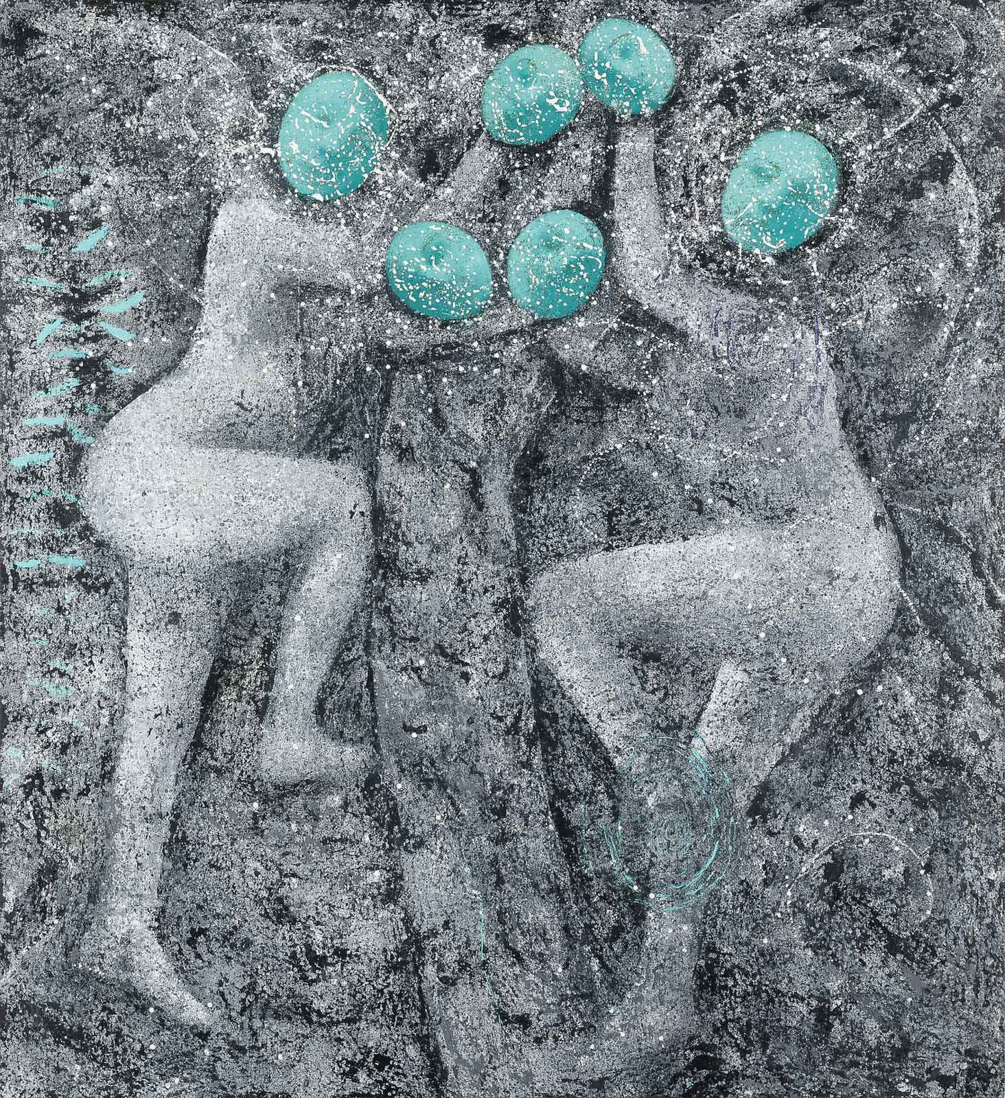 Poses Plastiques, 2018 Oil, pumice and pastel on aluminum honeycomb panel, 164 x 150 cm