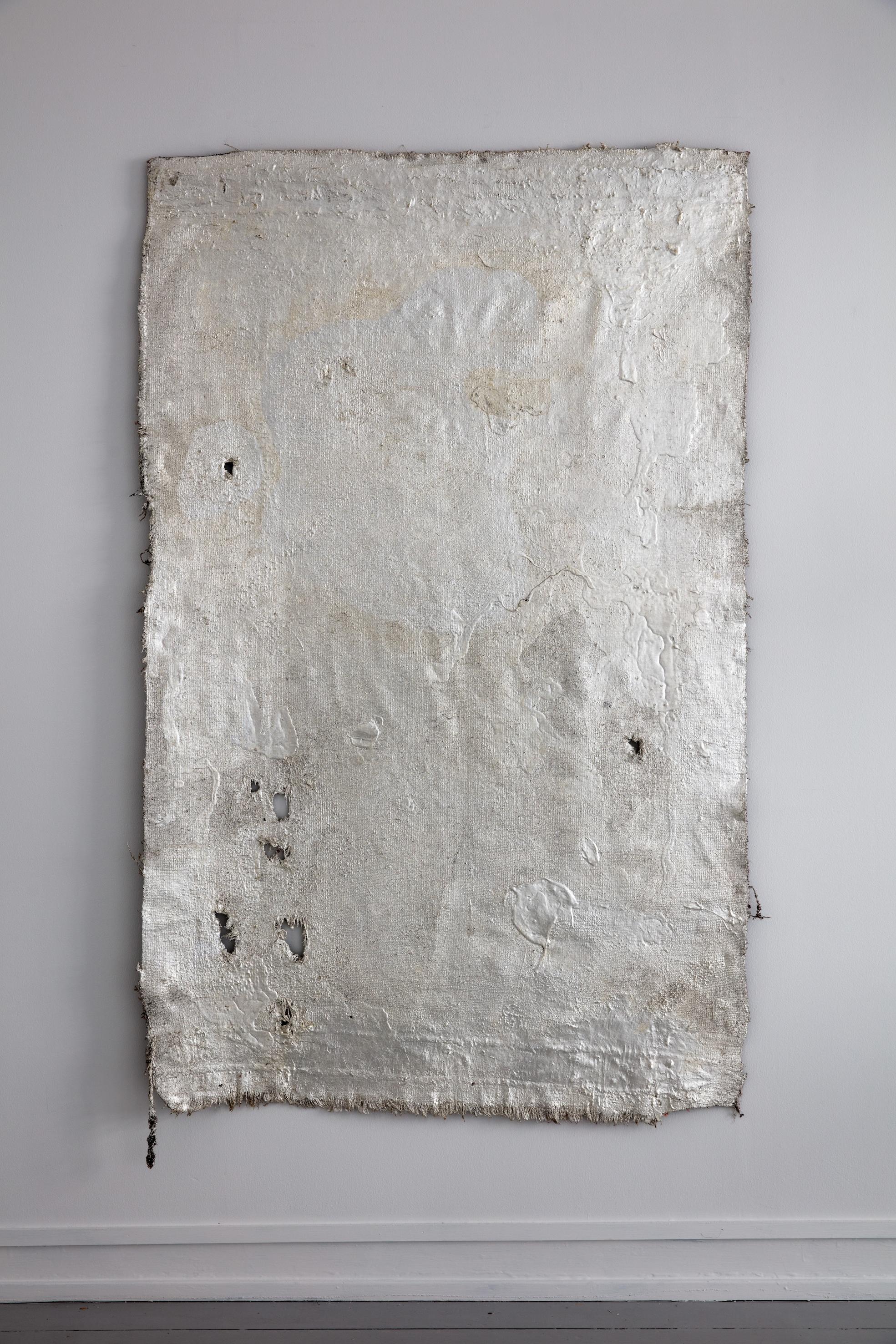 Iconostasis, 2017, Baluch rug, ruler, silverleaf, lacquer, 171 x 103 cm