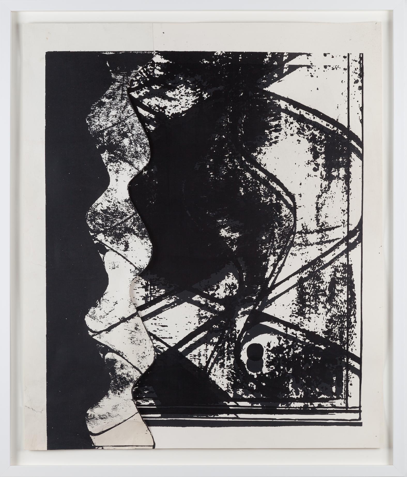 Action - Reaction, B, circa 1970, Silkscreen and collage, 85 x 71 cm