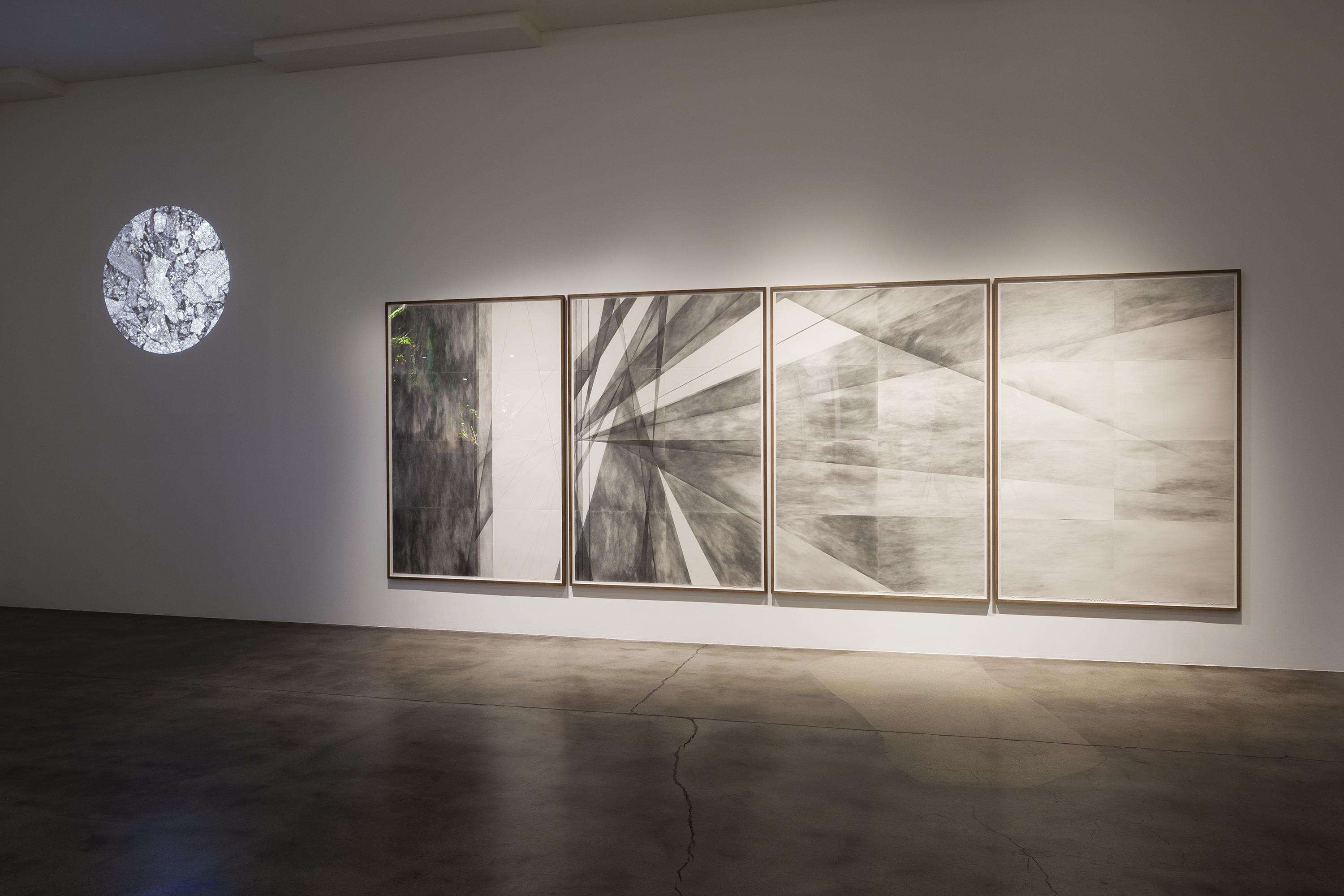 Mesmer Conduit, 2016, video, 31 min loopCloud Chamber, 2014-2016, pencil and paper, each panel 232 x 157,5 cm