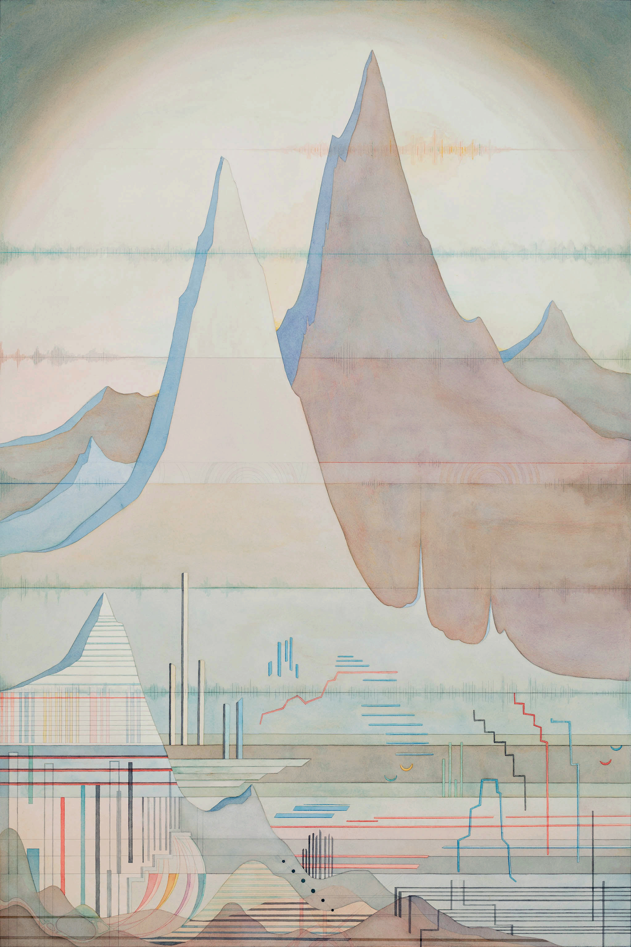 Audiography No. 2, 2013, Watercolor, water-soluble color pencil and pencil on paper, 137 x 91 cm