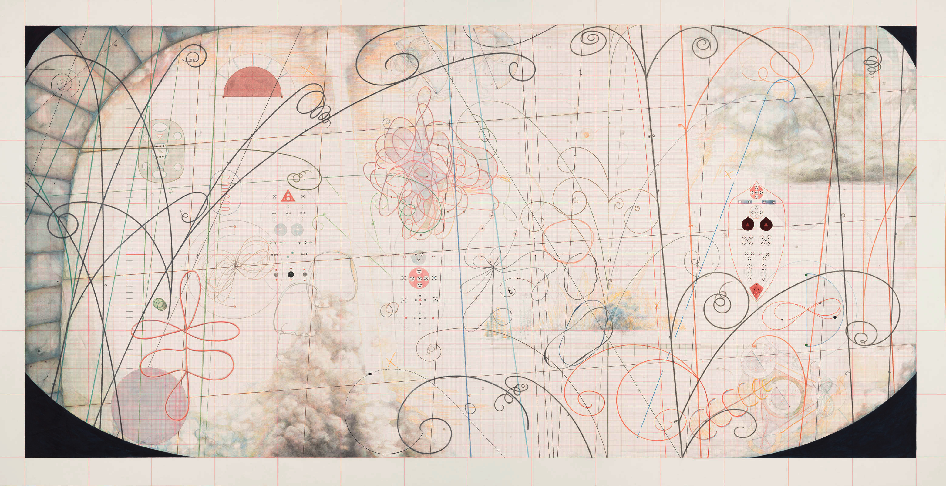 War of the worlds, 2013, Gouache, ink, water-soluble color pencil on paper, 114 x 221,5 cm