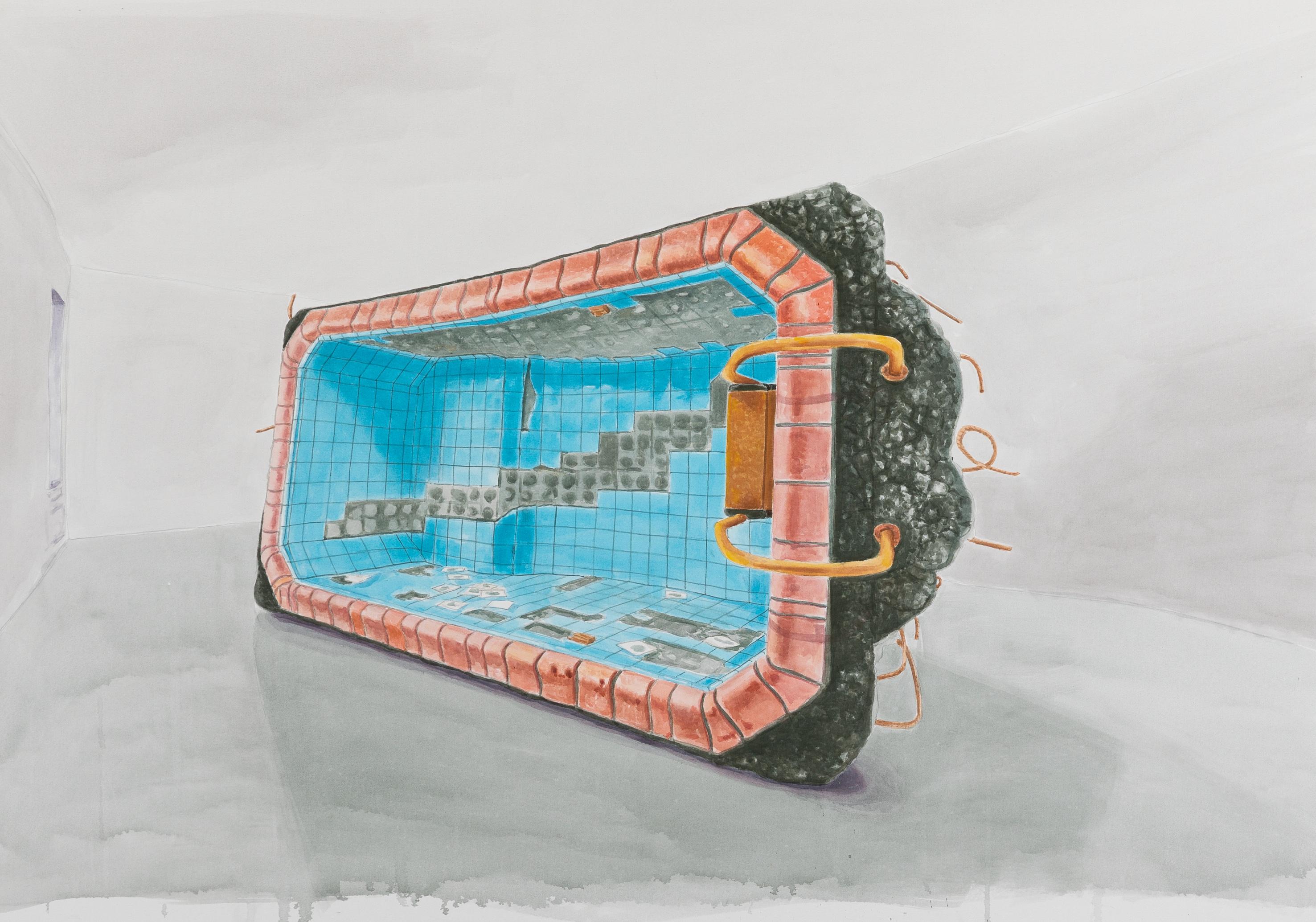 Microwave for one, 2018, Acrylic on canvas, 120 x 170 cm